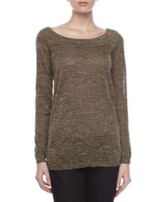 Metallic Knit V-Back Sweater  by Halston Heritage at Neiman Marcus Last Call.
