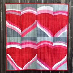 ~ tutorial ~ Improv Valentine wall quilt by Erica Jackman at Kitchen Table Quilting as seen at Moda Bakeshop