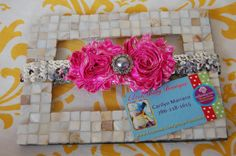 Vintage Inspired Neon Pink  Flower Shabby in a Silver by Unikbaby, $9.00 #neonpink #headband #silver