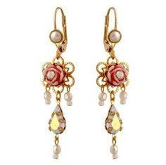 Michal Negrin Gold Earrings with Vintage Roses, Beads, Pearl Imitation and Swarovski Crystal - Victorian Style, Hypoallergenic,$63.00
