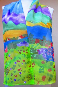 "#GIFT Ladies NEW Handpainted OOAK Silk scarf ""Isle of Capri"" wearable art amazing colors! SALE"