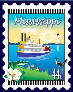 State Stamp Fabric Panel - Mississippi Mini Panel by Debra Gabel for Zebra Patterns by RealStitchersofTexas on Etsy