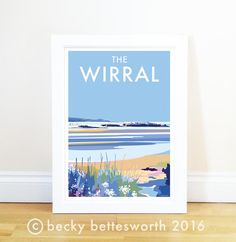 The Wirral vintage style travel poster and seaside print forms part of the British Coastlines travel art collection. Created by Devon Artist Becky Bettesworth. Inspiration Wall, Child Love, Family Dogs, Travel Posters, North West, Beautiful World, Vintage Fashion, Vintage Style, Vintage Posters