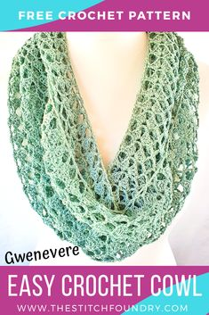Ravelry: Crochet Cowl Pattern Gwenevere pattern by Sharon Murphy Crochet Infinity Scarf Free Pattern, Easy Crochet Patterns, Free Crochet, Knitting Patterns, Knit Crochet, Crochet Hats, Scarf Patterns, Easy Knitting, Knitting Tutorials