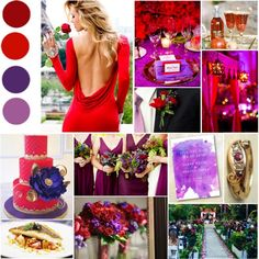Burgundy, Red, Royal Purple, Orchid #wedding #red #purple