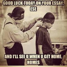 """Anglo English: Essay - A written test… Mexican/Chicano English: Ese - """"dude""""… Anglo English: Home - Where u live... Mexican/Chicano English: Homes - """"dude"""""""