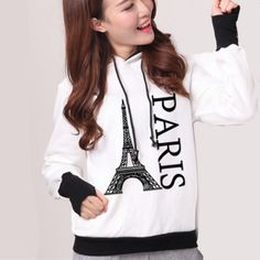 Paris Eiffel Tower hoodies fleece pullover letter graphic hooded sweatshirts