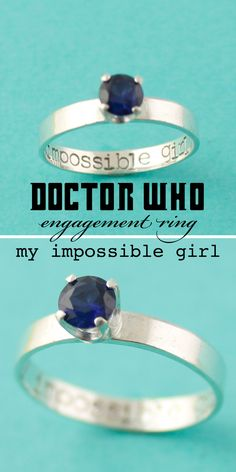 Doctor Who - My Impossible Girl Engagement Ring, Tardis Blue Stone, by Spiffing Jewelry