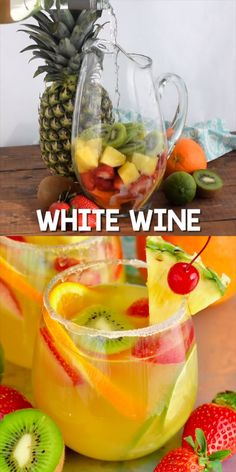 Tropische Margarita Sangria This Tropical Margarita Sangria recipe starts with white wine and then some simple ingredients – tequila, pineapple juice, simple syrup and fruit! This easy cocktail is a fun twist on a traditional white sangria recipe. Best Non Alcoholic Drinks, Liquor Drinks, Wine Mixed Drinks, Beverages, Mix Drinks, Alcohol Drink Recipes, Wine Recipes, Fun Summer Drinks Alcohol, Alcoholic Punch Recipes