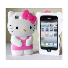 3D Hello Kitty Silicon Hard Case/Cover For iPhone 4 4S ($9.16) ❤ liked on Polyvore