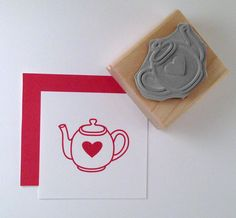 Tea Pot Rubber Stamp by cupcaketree on Etsy