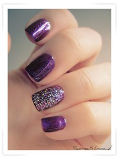 .purple glitter accent nail. Sinful Colors I love you