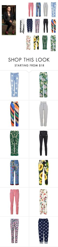 """Aria's pants"" by lujzazsu ❤ liked on Polyvore featuring STELLA McCARTNEY, Dolce&Gabbana, ESCADA, Topshop, Ganni, Unravel, Gucci, Dondup, Sugarhill Boutique and Marques'Almeida"