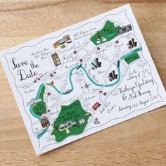 100 Custom Map Postcards  Cute Wedding Map We're by cutemaps, $240.00