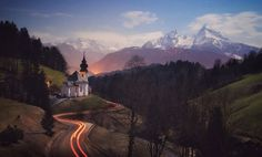 Maria Gern, near Berchtesgaden Full Moon Night, Love Photos, National Geographic Photos, Your Shot, Landscape Photographers, Amazing Photography, Germany, Country Roads, City