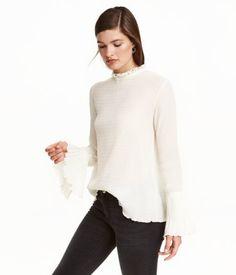 Bluse mit Trompetenärmeln | Naturweiß | Damen | H&M DE