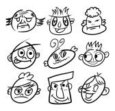 hand draw cartoon head icon stock photography
