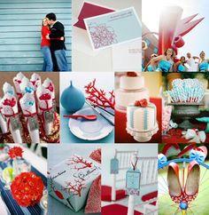 @Kristin :: Teal White Garden :: Teal White Garden DiMonte Red and aqua wedding. Your colors! :)