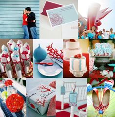 Red and aqua wedding (coral ties in the ocean theme!)
