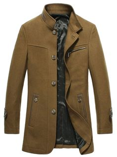 X.N Men's Winter Single Breasted Stand Collar Woolen Trenchcoat Jacket