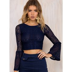 Minkpink Bittersweet Lace Top  XS/8 ($59) ❤ liked on Polyvore featuring tops, navy, navy blue top, blue lace top, lace crop top, bell sleeve tops and sheer lace top