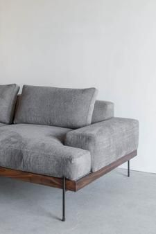 """84""""W + 41""""D + 31""""H INDUSTRIAL STEEL + DOWN + LEATHERCOTTON BLEND + ALDER + WALNUT POLY FINISH //CUSTOMIZE THIS PIECE This Sofa is Custom Made in Los Angeles."""