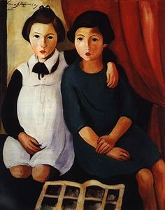 'As Meninas (The Girls)' (1928) by Portuguese painter Sarah Alfonso (1899-1983). via Figuration Feminine