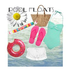 """pool floats"" by oodlesofsisters ❤ liked on Polyvore featuring interior, interiors, interior design, home, home decor, interior decorating, Art Classics, Straw Studios, George and Victoria's Secret"