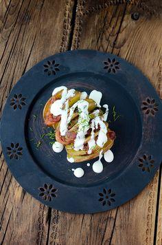 Smokey Bacon HASSELBACK POTATOES with Cream Sauce #appetizer #appetizers #potatoappetizer