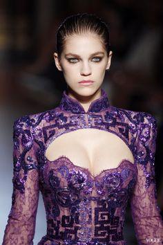 Future Fashion, Purple Dress, Fashion Show, Model, Violet Clothing, Futuristic Look, Futuristic Fashion, love the open bodice