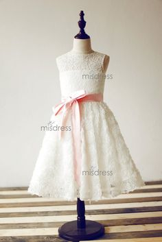Keyhole Back Ivory Lace Rosette Flower Girl Dress with pink sash