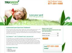 TruGreen is a landscape website design example that uses the clean, less is more approach.