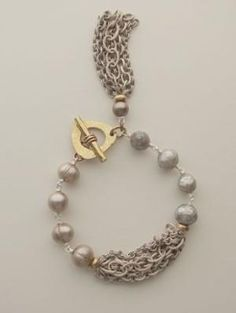 Gray Pearl & Chunky Chain Bracelet by kenya