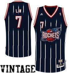 adidas Jeremy Lin Houston Rockets Hardwood Classics  Throwback Swingman Alternate Jersey - Navy Blue