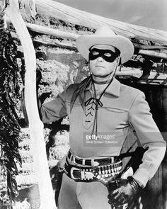 American actor Clayton Moore (1914 - 1999) stars as John Reid, aka The Lone Ranger, circa 1950.