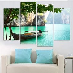 Fashion Large HD Seaview With ShipTop-rated Canvas Print Painting for Living Room Wall Art Picture Gift Decoration Home Picture - TakoFashion - Women's Clothing & Fashion online shop Long Painting, House Painting, Wall Art Pictures, Home Pictures, Interior Wood Shutters, Canvas Wall Art, Canvas Prints, Picture Gifts, Contemporary Interior Design