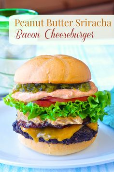 A Peanut Butter Sriracha Bacon Cheeseburger combines sweet, salty smoky & spicy flavours into a taste explosion of a burger. There's really nothing like it!