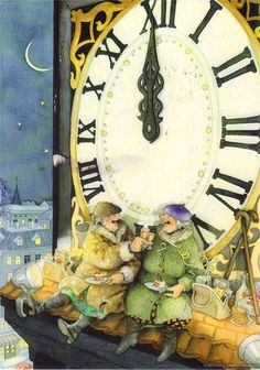 """""""Inge, Look! It's Midnight! Another New Year And We're Still Alive!"""" ~ Inge Look. Old Lady Humor, Nouvel An, Old Women, Finland, Happy New Year, Illustrators, Whimsical, Vintage World Maps, Illustration Art"""