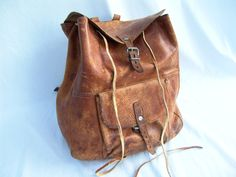 Old Distressed Leather Drawstring Backpack Steampunk. $59.95, via Etsy.