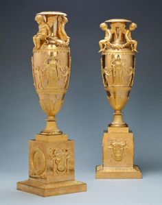 "A Pair of Gilt Bronze Empire Vases Ca1810 France. 23.8""H."