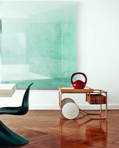 Tea Trolley 900 by Alvar Aalto from Artek and Panton Chair by Verner Panton from Vitra
