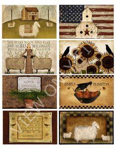 8 Primitive Hang Tags Sheep Crows Journal Cards Labels Scrapbooking for sale online Primitive Labels, Primitive Patterns, Primitive Fall, Primitive Folk Art, Primitive Crafts, Country Primitive, Free Primitive Stencils, Primitive Sheep, Primitive Homes