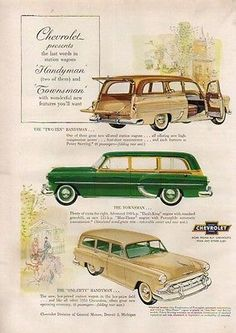 1953 Chevrolet Two-Ten One-Fifty Handyman Chevy Townsman Station Wagon Ad