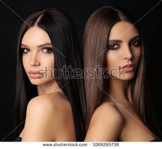 fashion photo of beautiful women with luxurious long dark hair posing in studio