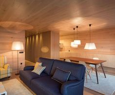 wooden ceiling and walls living room