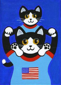 Original arte popular de la lona pintura - smoking gatos 4 de julio bandera americana 5 x 7 por Jill