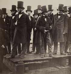 "Isambard K. Brunel (left-hand in pocket) watches launch of iron steam ship ""SS Great Eastern"" on Thames, London,1857"