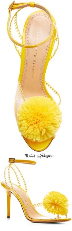 Pom PVC and Patent-Leather Sandals by Charlotte Olympia - Moda Operandi Yellow Sandals, Yellow Shoes, Leather Sandals, Patent Leather, Heeled Sandals, Strappy Sandals, Jimmy Choo, Jaune Orange, Christian Louboutin