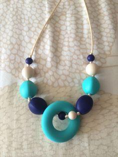 Turquoise navy and cream BPA free silicone by RaincoastMomandBabe