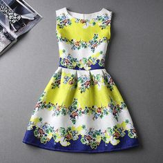 Rainbeam Sleeveless Jacquard Printed Dress | YESSTYLE